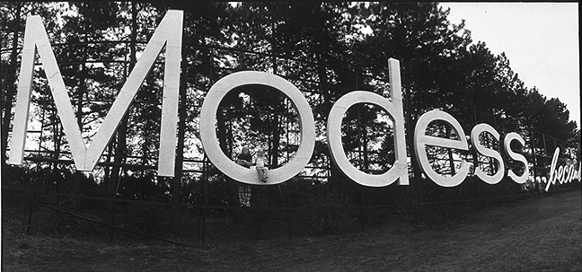 Modess signage, image by Jim A. Linder
